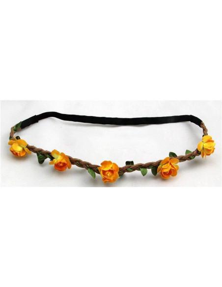 Bentita pentru par impletita cu floricele colorate