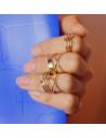 Set patru inele aurii late ajustabile, cu frunze si flori