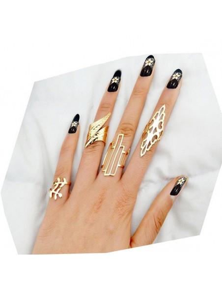 Set 4 inele late ajustabile cu modele florale