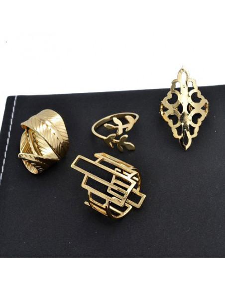 Set 4 inele aurii late ajustabile cu modele florale