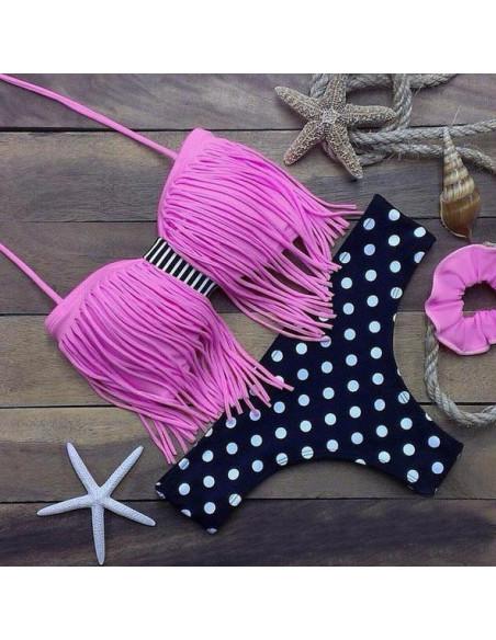 Costum de baie BOHO cu franjuri roz si slip negru cu buline