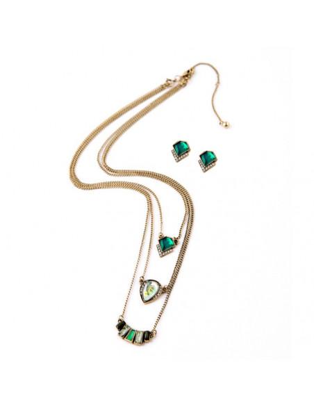 Set lantisor triplu si cercei aurii cu cristale verzi, albe si opalescente