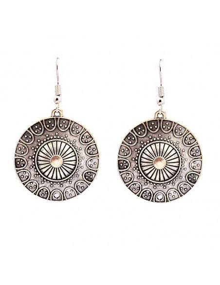 Cercei argintii indieni, model etnic rotund