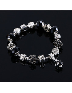 Bratara cu charmuri tip Pandora, argintie cu coroana si bufnita