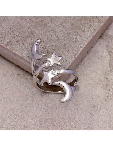 Inel etnic argintiu, cu stele si semilune