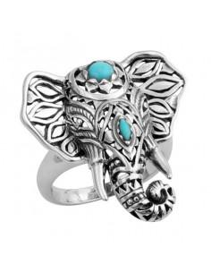 Inel argintiu cu elefant si pietre turcoaz
