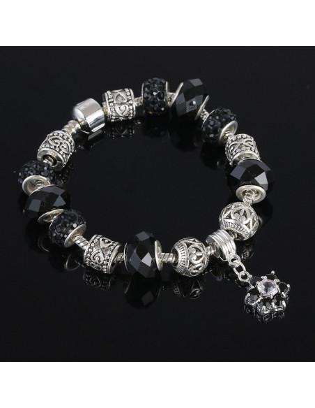 Bratara cu charmuri tip Pandora, argintie cu inimioare si floare