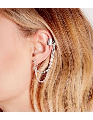 Cercel tip ear cuff, doua lanturi lungi cu prindere dubla