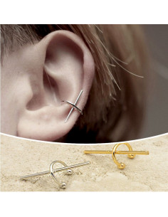 Cercel ear cuff, tija scurta cu prindere de ureche
