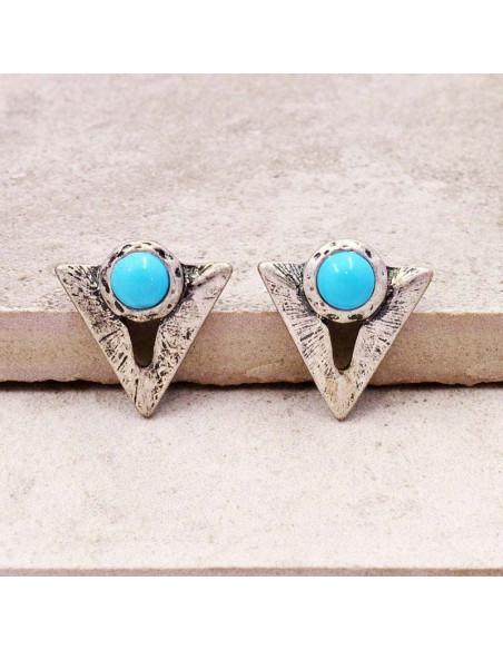 Cercei argintii etnici, triunghiulari, cu margica turcoaz