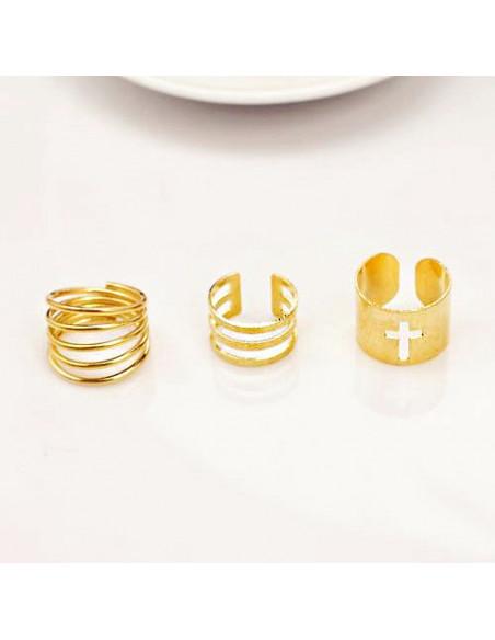 Set 3 inele late ajustabile, verigheta cu cruce si cercuri paralele