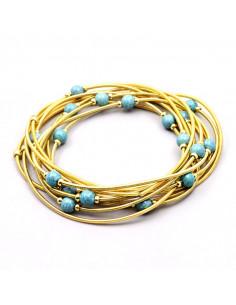 Set 12 bratari subtiri aurii, cu margele albastre