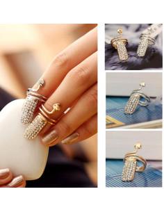 Inel pentru unghie, cu cristale si inimioara