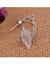 Cercei tip ear cuff, Frunza mare cu cristale si lantisoare