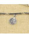 Colier argintiu de inspiratie indiana, cu medalion rotund si banuti Two O'Clock