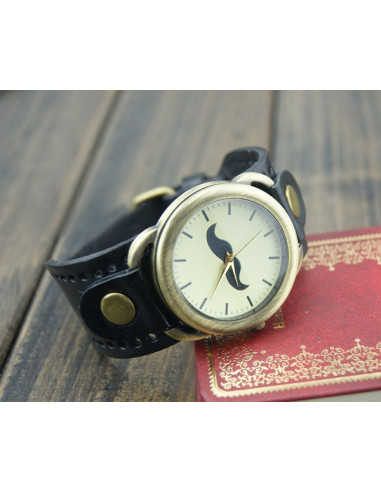 Ceas vintage, model cu cadran rotund si mustata, ceas vintage curea lata din piele naturala