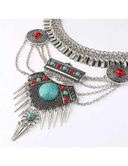 Colier statement indian, cu lanturi late, medalioane si margele colorate