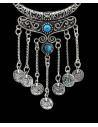 Colier indian argintiu cu banuti metalici si margele decorative