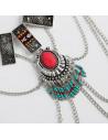 Colier etnic, cu insertii textile, pietre howlit, margelute si lanturi