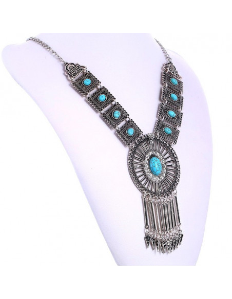 Colier etnic elegant, cu medalioane dreptunghiulare si soare central