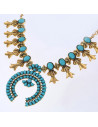 Colier vintage etnic cu flori si medalion cu margele turcoaz