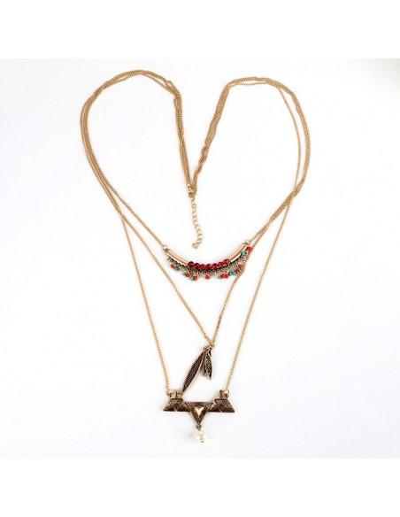 Colier statement din metal auriu patinat, model cu lanturi lungi