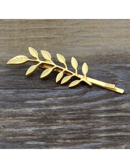 Agrafa pentru par, aurie, cu frunza de salcam, model boho