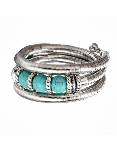 Bratara etnica tip spirala, din inele metalice si 3 margele turcoaz