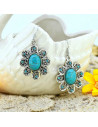 Cercei indieni, floare cu cristale si piatra din howlit turcoaz