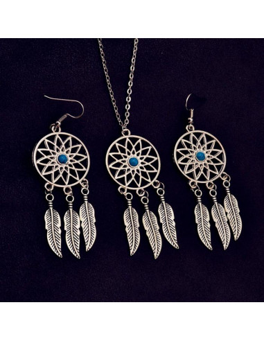 Set etnic cercei si medalion, Dreamcatcher cu pene