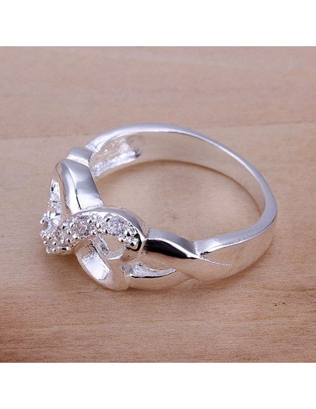 Inel elegant, placat cu argint, model cu inimioare si cristale