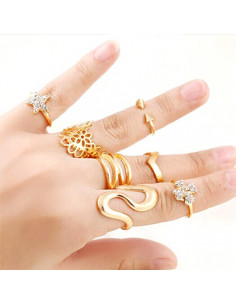 Set 7 inele aurii ajustabile, diverse modele si dimensiuni