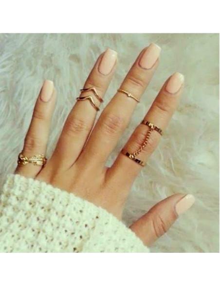 Set 6 inele minimal, pentru mijlocul degetelor