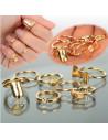 Set 7 inele aurii minimal, pentru mijlocul degetelor, cu fundita