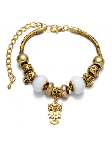 Bratara tip Pandora, aurie, cu charmuri tesoasa si bufnita