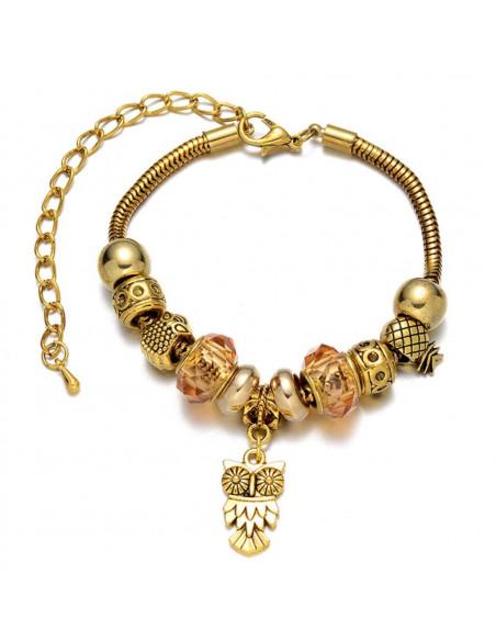 Bratara tip Pandora, chihlimbar, cu charmuri tesoasa si bufnita