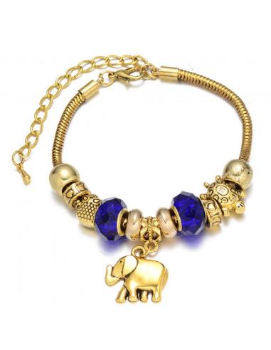 Bratara tip Pandora, albastru, cu charmuri tesoasa si elefant
