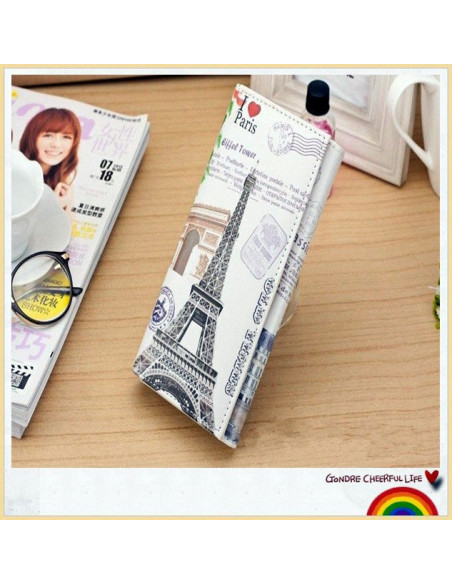 Portofel boho cu motive parisiene - Turnul Eiffel si Arcul de Triumf