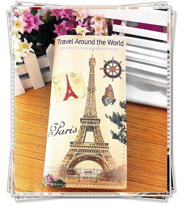 Portofel boho cu motive parisiene - Turnul Eiffel si fluture