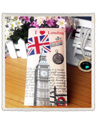 Portofel boho cu motive britanice - I Love London