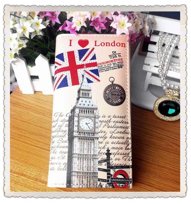 Portofel boho cu motive britanice - I Love London