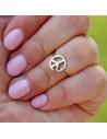 Inel midi, pentru mijlocul degetului, cu semnul pacii