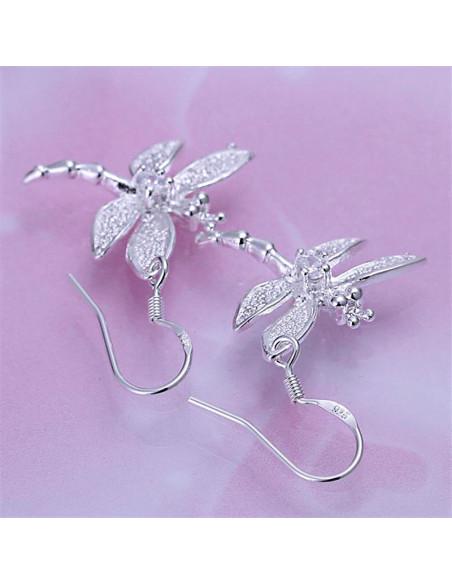Cercei placati cu argint, model cu libelule